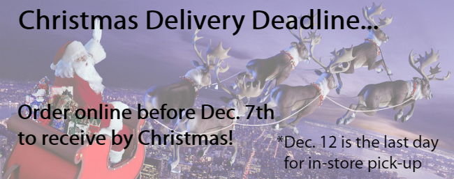 Feature - Christmas Delivery Deadline, order before December 7th to receive by Christmas!