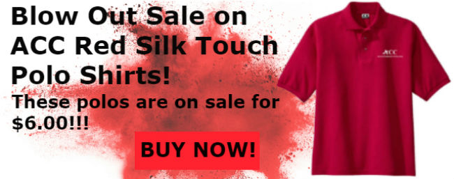 ACC Red Silk Touch Polo Shirts only $6.00!!!