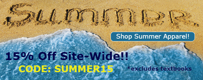 15% off off merchandise online! *textbooks excluded* Use code: SUMMER15