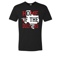 ACC Men's Premium Home of the Dolphins 100% Cotton Short Sleeve T-Shirt, Black
