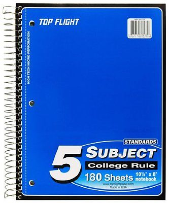 5 Subject College Ruled Notebook