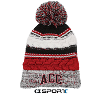 Beanie Pom Pom Red/Black/White
