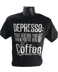 Depresso Tshirt Black With White Letters