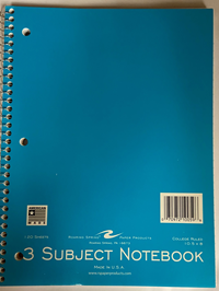 Notebook 3Sub 10.5X8 120Ct