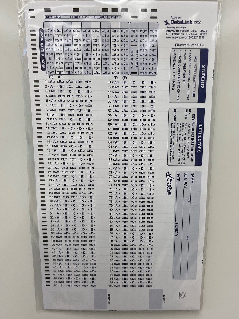 Scantrons  - pk of 6 (SKU 103063901072)