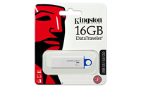 Kingston 16 GB Data Traveler G4 USB 3.0 Flash Drive, White & Blue